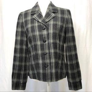 Jones Wear Studio Gray Plaid Jacket/Blazer